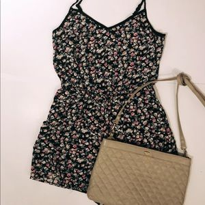 Relaxed Floral Romper with crisscross Back